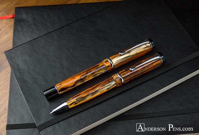 Conklin Duragraph Amber Fountain Pen & Ballpoint
